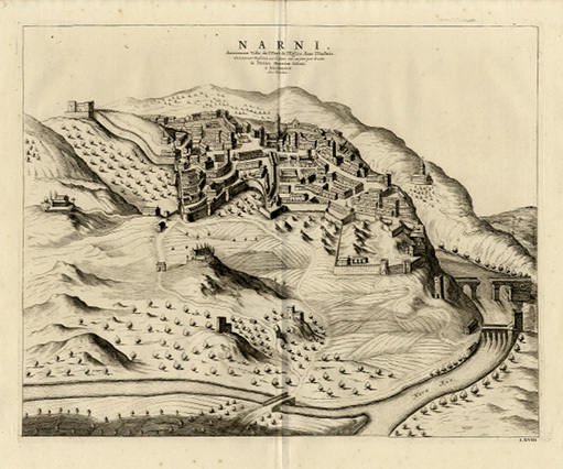 P. Mortier, Veduta della città di Narni, 1724